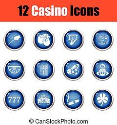 Casino icon set. Glossy button design. Vector illustration.