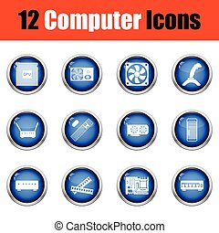 Set of computer icons. Glossy button design. Vector...