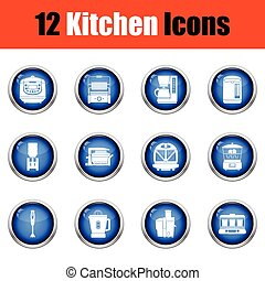 Kitchen icon set Glossy button design Vector illustration...