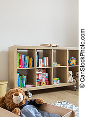 New home for beloved teddy bar - Child room with bookstand...