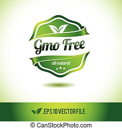 Gmo free badge label seal stamp logo text design green leaf...