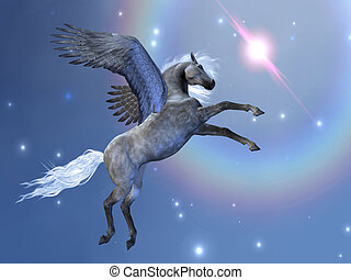 BRAVEHART - Pegasus flies up among the stars in the sky.