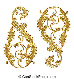 Ornament elements, vintage gold floral designs on white...