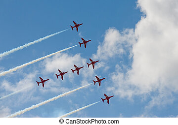 red arrows - Precision maneuver by the Red Arrows aerobatic...