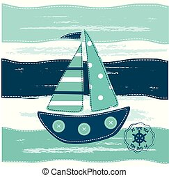 Background with abstract sailing ship