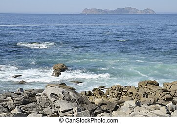 Cies Islands seen from Baiona, in Galicia, Spain.