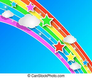 Paper rainbow with clouds in the sk - Rainbow paper with...