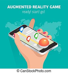 Flat isometric mobile game catch illustration. Human hand hold smartphone. Virtual MMOG game 3d isometry concept.