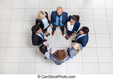 Business People Group Standing In Circle Top Angle View,...