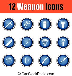 Set of twelve weapon icons Glossy button design Vector...
