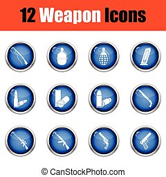 Set of twelve weapon icons. Glossy button design. Vector...