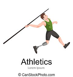 disabled athlete with prosthesis isolated concept, sport for people  , physical activity and competition  invalid
