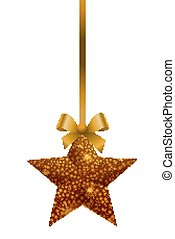 isolated gold Christmas ornaments h - Isolated golden...