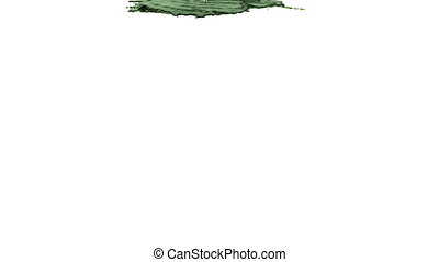green paint pouring on white background colored oil -...