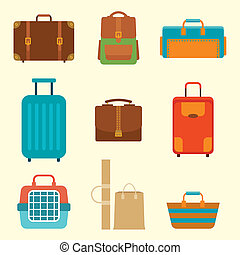 Different types of baggage Large and small suitcase, hand...