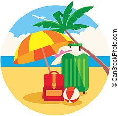 Baggage on the summer beach - Stock vector illustration of...