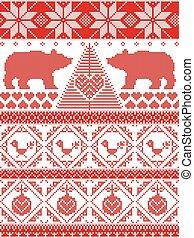 Pattern with Xmas tree, polar bears