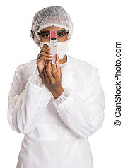 Female medical professional scientist researcher holding a...