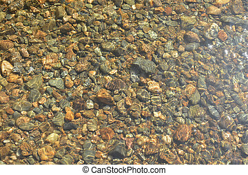 Background of river pebbles under the clear water Rocky...