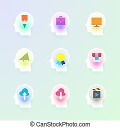 Modern vector flat icons collection of sharing, video,...