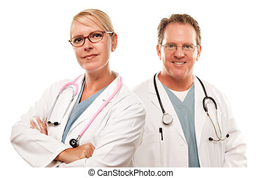 Smiling Male and Female Doctors or Nurses