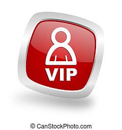 vip square red glossy chrome silver metallic web icon - vip...