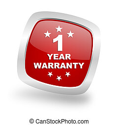 warranty guarantee 1 year square red glossy chrome silver...
