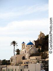 Greek Island church blue dome Ios Cyclades Islands - classic...