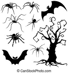 Halloween set of spiders, bats and dried tree - Halloween...
