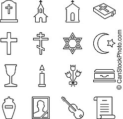 Icons of linear symbols funeral - Set of vector icons of...