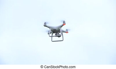Drone Copter Landing in Stadium for 4k video