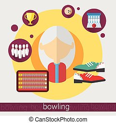 Bowling Game Player Senior Woman Icon Flat Vector...