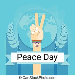 Hand Group Peace Sign World International Holiday Poster