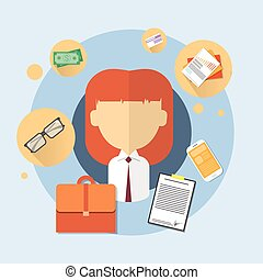 Business Woman Bank Office Worker Icon
