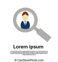 Magnifying Zoom Glass Business Person Portrait Candidate...