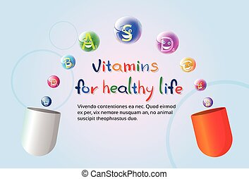 Capsule With Vitamins Nutrient Minerals Colorful Banner...