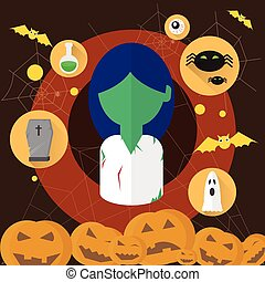 Zombie Dead Woman Flat Icon Halloween Vector Illustration