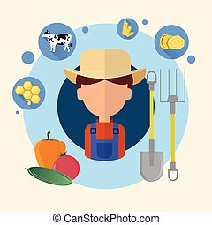 Farmer Man Agriculture Icon Flat Vector Illustration