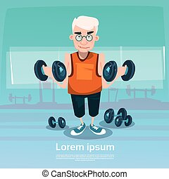 Senior Man In Gym Lifting Weight Exercise Workout