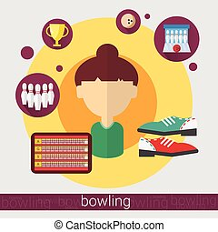 Bowling Game Player Young Girl Icon Flat Vector Illustration