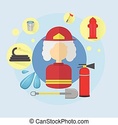 Fire Senior Woman Firefighter Worker Icon Flat Vector...