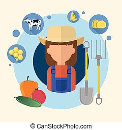 Farmer Woman Agriculture Icon Flat Vector Illustration