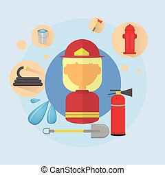 Fire Woman Firefighter Worker Icon Flat Vector Illustration