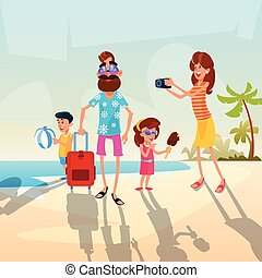 Big Family Parents With Two Children On Seaside Vacation Summer Holiday