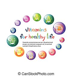 Vitamins Nutrient Minerals Colorful Banner Healthy Life...
