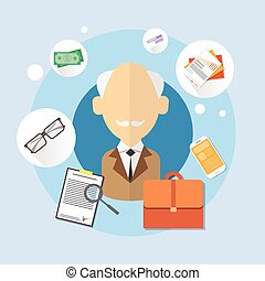 Pensioner Senior Man Bank Office Client Icon Flat Vector...