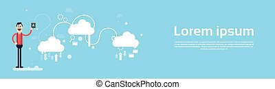 Business Man Hold Tablet Share Data Cloud Computing Technology Banner