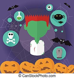 Zombie Dead Man Flat Icon Halloween Vector Illustration