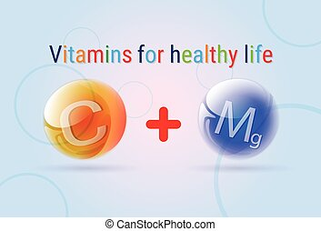 Vitamins Minerals Colorful Banner Flat Vector Illustration