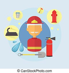 Fire Senior Man Firefighter Worker Icon Flat Vector...